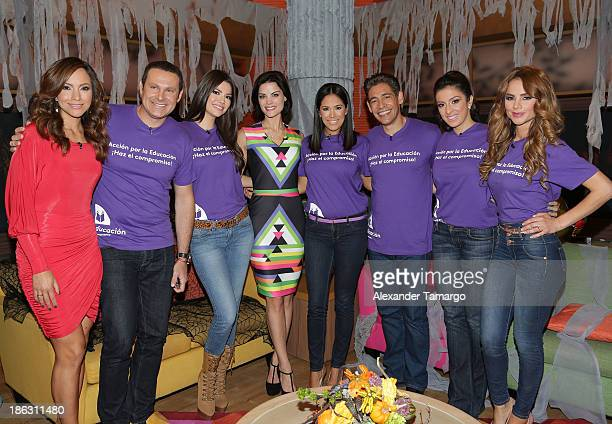 Satcha Pretto Alan Tacher Ana Patricia Gonzalez Jaimie Alexander Karla Martinez Johnny Lozada Maity Interiano and Ximena Cordoba appear on the set of...