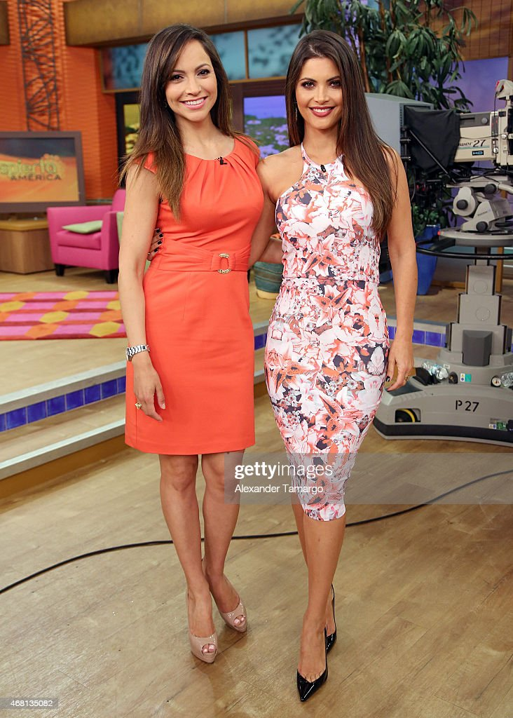 Satcha Pretto and Chiquinquira Delgado are seen on the set of Univision's morning show 'Despierta America' at Univision Studios on March 30 2015 in...