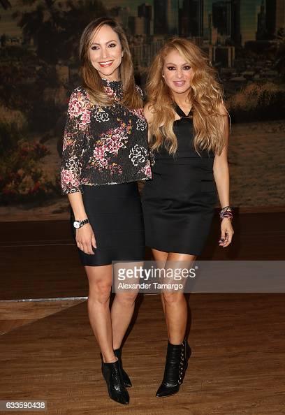 Satcha Pretto and Paulina Rubio are seen on the set of 'Despierta America' at Univision Studios on February 2 2017 in Miami Florida