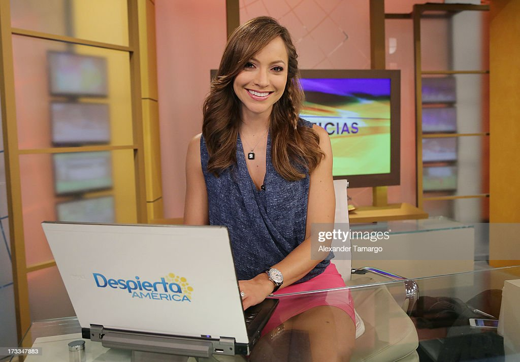 Satcha Pretto is seen during Sesame Street's visit of Univision's 'Despierta America' at Univision Headquarters on July 12, 2013 in Miami, Florida.