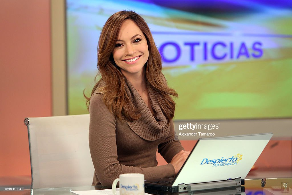 Satcha Pretto is seen on the set of Despierta America at Univision Headquarters on January 18, 2013 in Miami, Florida.
