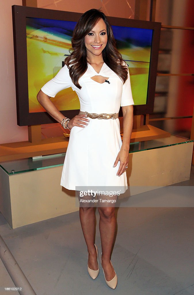 Satcha Pretto is seen on the set of Despierta America for simulcast with 'Good Morning America' and Fusion's the Morning Show' at Univision Headquarters on October 28, 2013 in Miami, Florida.