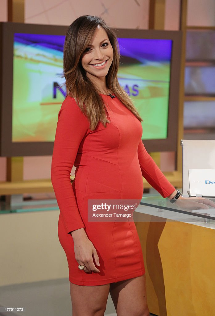 Satcha Pretto is seen on the set of Univision's Despierta America morning show at Univision Headquarters on March 10, 2014 in Miami, Florida.