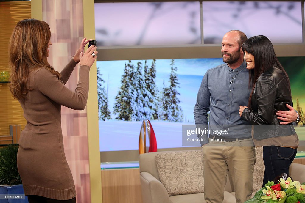 Satcha Pretto, Jason Statham and Karla Martinez are seen on the set of Despierta America at Univision Headquarters on January 18, 2013 in Miami, Florida.