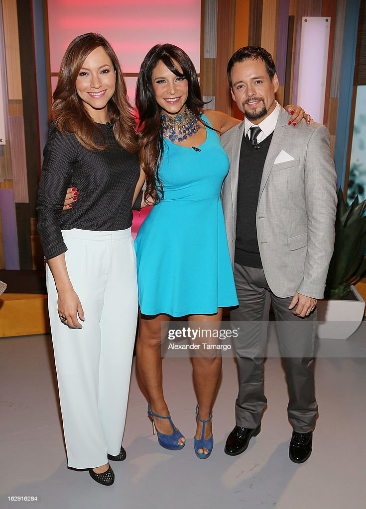 Satcha Pretto, Lorena Rojas and Rodrigo Vidal celebrate Univision's Tlnovelas cable network first anniversary on Despierta America at Univision Headquarters on March 1, 2013 in Miami, Florida.