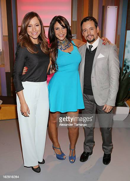 Satcha Pretto Lorena Rojas and Rodrigo Vidal celebrate Univision's Tlnovelas cable network first anniversary on Despierta America at Univision...