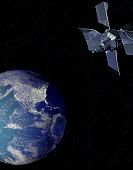 Satellite above earth (Digital)