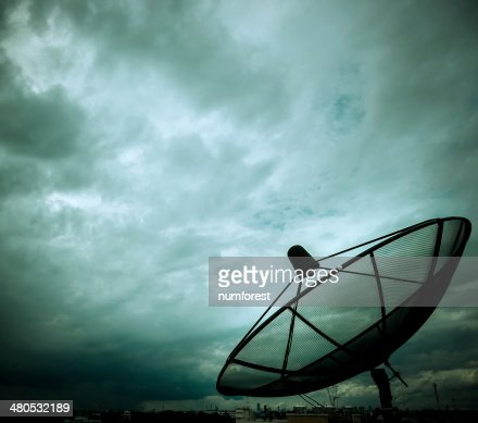 satellite dish and nimbus : Stock Photo