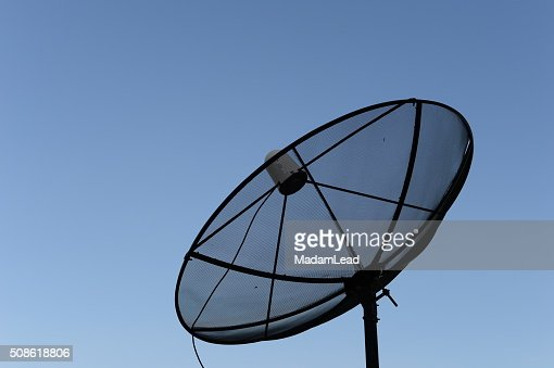satellite dish blue sky background : Stock Photo
