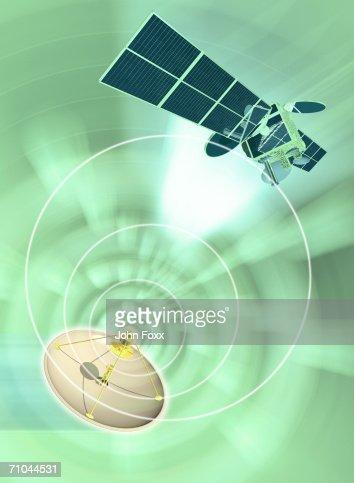 Satellite dish emanating radio waves (Digital Composite)