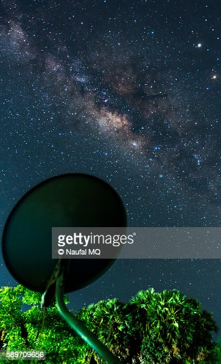 Satellite dish facing the Milky way galaxy
