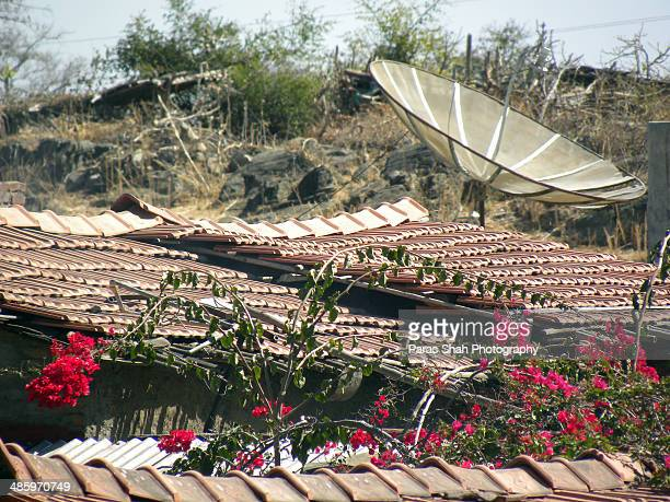 Satellite dish in rural area