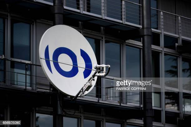A satellite dish is seen at the headquarters of European Broadcasting Union which organises the hugely popular Eurovision Song Contest on March 23...