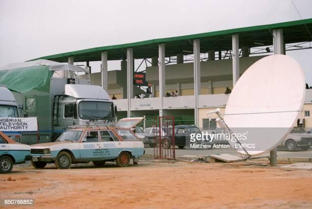 TV satellite dish outside the Liberation stadium in Port Harcourt