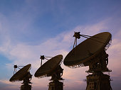 3d rendering satellite dish with twilight sky background
