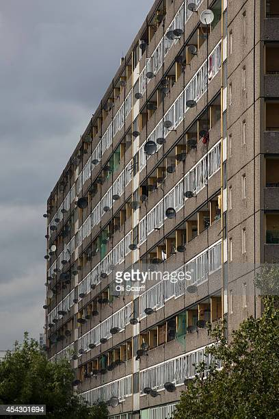Satellite dishes adorn a residential tower block in an area of Southwark with a high concentration of social housing on August 28 2014 in London...