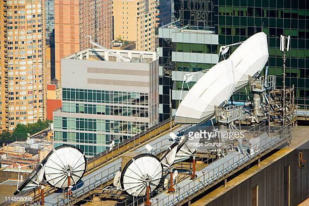 Satellite dishes and buildings in New York