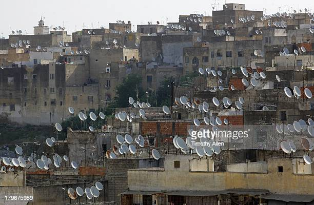 Satellite dishes dominate residential Fez