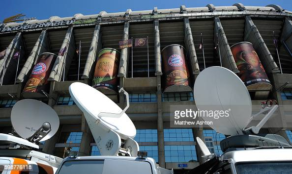 Satellite dishes in the television compound responsible for broadcasting the UEFA Champions League Final 2010 The competition attracts an extensive...