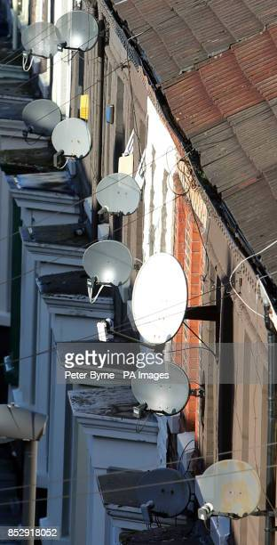 Satellite dishes on houses in Everton Liverpool Merseyside