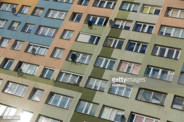 Satellite dishes used for television channel reception are seen in Bydgoszcz Poland on 8 May 2017 Due to the hight cost of building cable television...