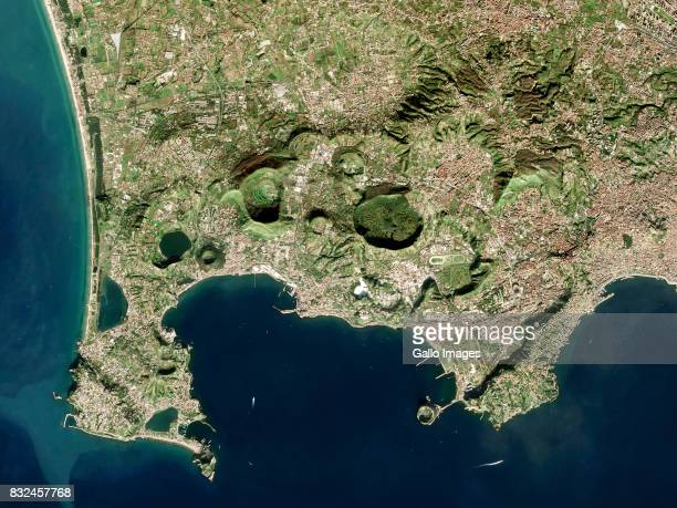 Satellite image of Campi Flegrei also known as the Phlegrean Fields a supervolcano located mostly under the Gulf of Pozzuoli west of Naples on...