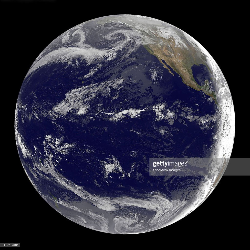 Satellite image of Earth centered over the Pacific Ocean.