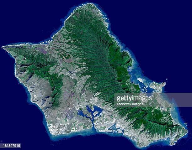 Satellite image of Oahu, Hawaii.