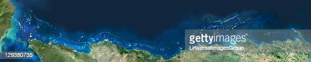 Satellite image of the Great Barrier Reef the world's largest coral reef located in the Coral Sea off the cost of Queensland in NorthEast Australia...