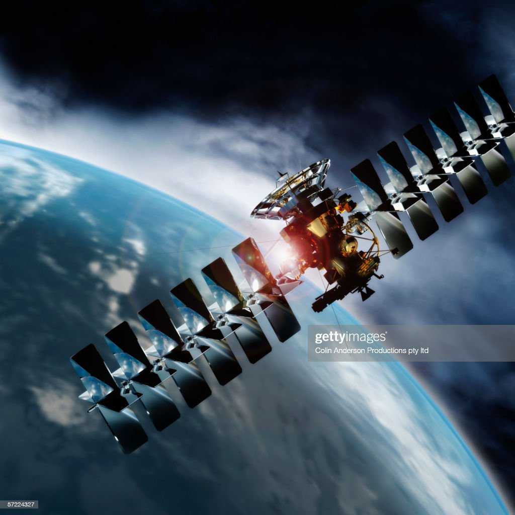 Satellite in space orbiting earth