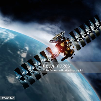 Satellite in space orbiting earth