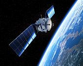 Satellite In Space. 3D Scene.