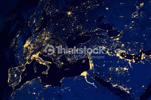 Satellite Map Of European Cities Night Stock Photo | Thinkstock on japan at night, middle east at night, united kingdom at night, italy at night, russia at night, romania at night, asia at night, mexico at night, empire state chrysler building at night, london at night, globe at night, north korea at night, china at night, u.s at night, home at night, planet earth at night, high resolution earth at night, africa at night, full chrysler building at night, usa at night,