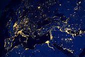Satellite map of European cities night. N.A.S.A. Image modified.