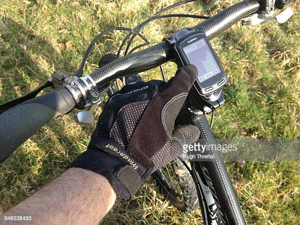 Satellite navigation used on a mountain bike Used to help travel a route and to map ones route