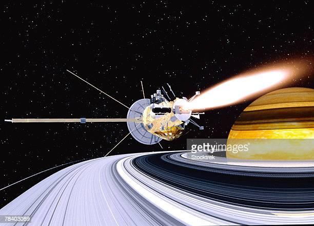 Satellite orbiting Saturn