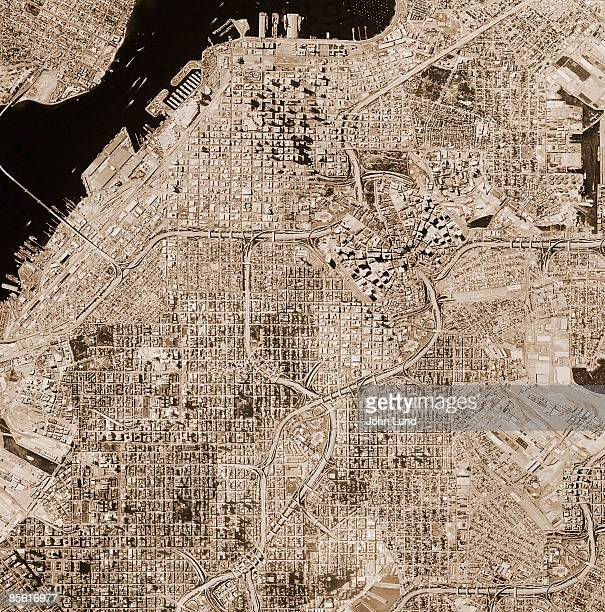 Satellite photo of fictional city
