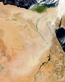 Satellite view of a dust storm stretching from Sudan toward Egypt.