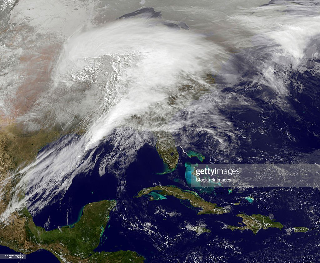 Satellite view of a massive winter storm over the United States.