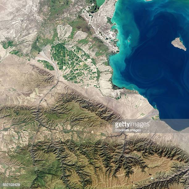 Satellite view of an alluvial fan in Kazakhstans Almaty province.