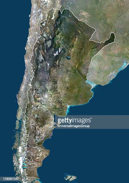 Satellite view of Argentina This image was compiled from data acquired by LANDSAT 5 7 satellites Argentina South America True Colour Satellite Image...