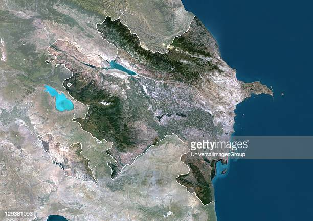 Satellite view of Azerbaijan This image was compiled from data acquired by LANDSAT 5 7 satellites Azerbaijan Asia True Colour Satellite Image With...