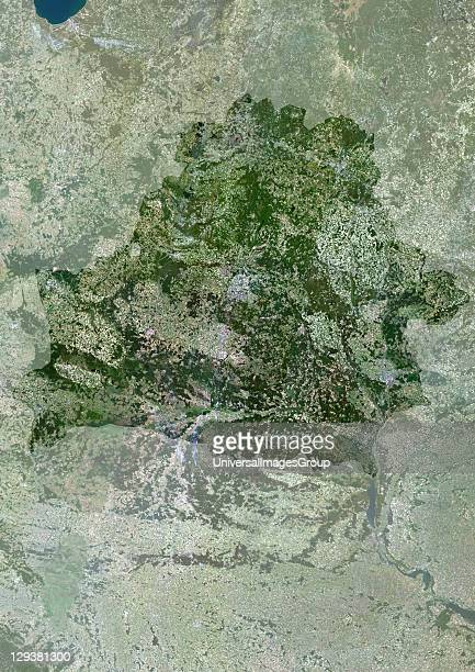 Satellite view of Belarus This image was compiled from data acquired by LANDSAT 5 7 satellites Belarus Europe True Colour Satellite Image With Mask