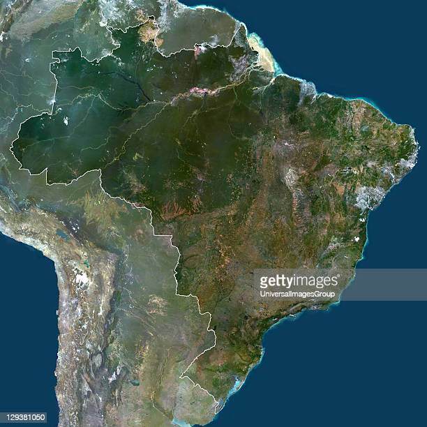 Satellite view of Brazil print size 42x42cm This image was compiled from data acquired by LANDSAT 5 7 satellites Brazil South America True Colour...