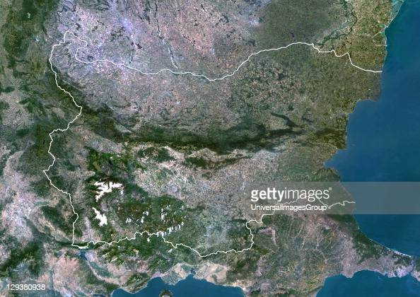 Satellite view of Bulgaria This image was compiled from data acquired by LANDSAT 5 7 satellites Bulgaria Europe True Colour Satellite Image With...