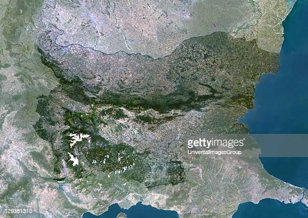 Satellite view of Bulgaria This image was compiled from data acquired by LANDSAT 5 7 satellites Bulgaria Europe True Colour Satellite Image With Mask
