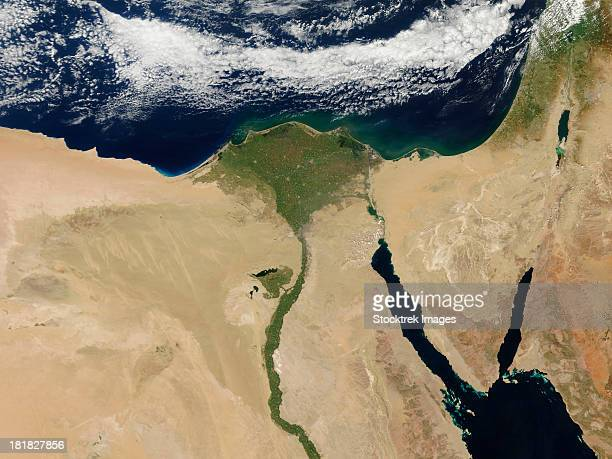 Satellite view of Cairo, Egypt, and the valley of the Nile River.