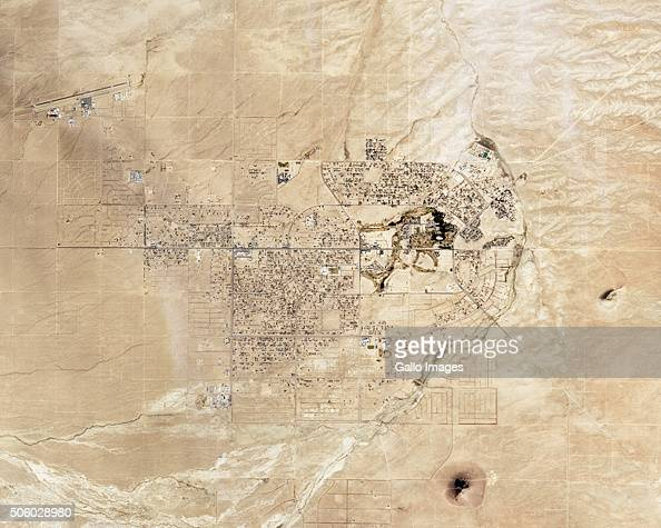 A satellite view of California City in Northern Antelope Valley on December 13 2015 in California USA The picture was taken during a drought green...