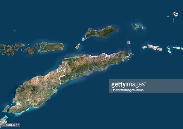 Satellite view of East Timor This image was compiled from data acquired by LANDSAT 5 7 satellites East Timor Asia True Colour Satellite Image With...