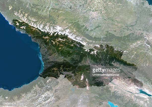 Satellite view of Georgia This image was compiled from data acquired by LANDSAT 5 7 satellites Georgia Asia True Colour Satellite Image With Mask